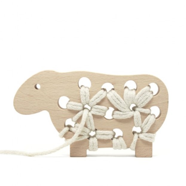 Gabby the Wooden Lacing Toy Sheep