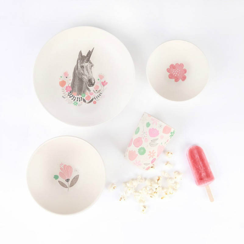 Love Mae - 4 Piece Bamboo Dinner Set - UNICORN SUPPER