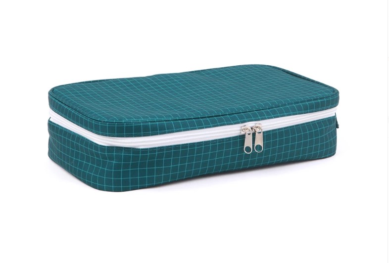 Love Mae Cooler Lunch Bag with Ice Brick - Blue Grid