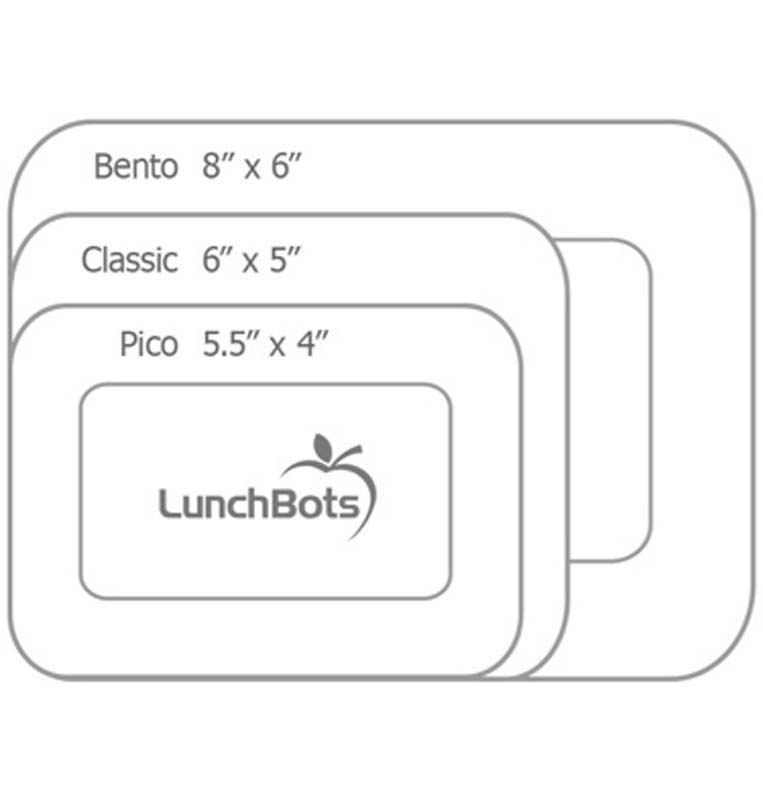 Lunch Bots available sizes