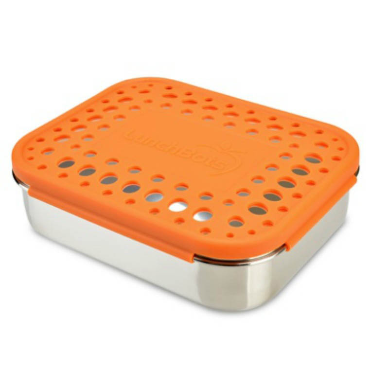 Lunchbots Duo with Dots Lid - ORANGE