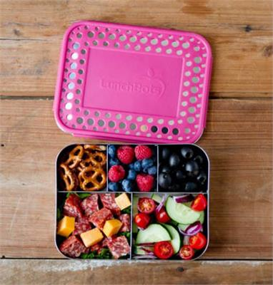 LunchBots Stainless Steel Lunch Box - Bento Cinco PINK DOTS
