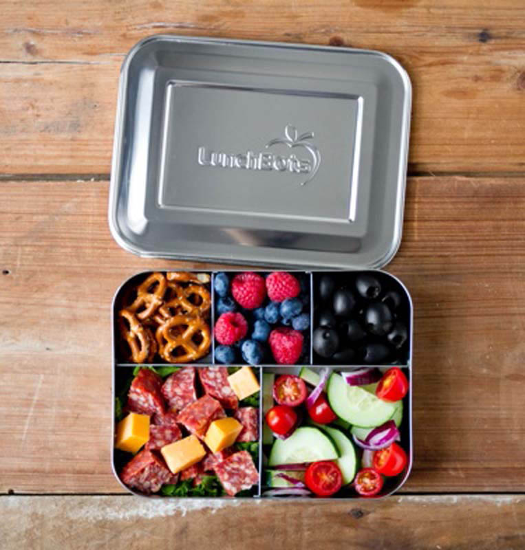 LunchBots Stainless Steel Lunch Box - Bento Cinco Stainless Steel Lid