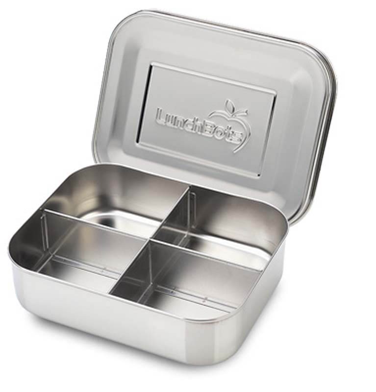 LunchBots Classic Quad - All Stainless Steel Lunchbox Container