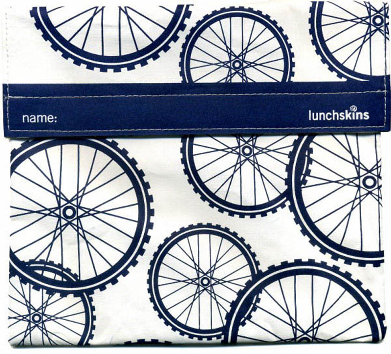 LunchSkins Reusable Sandwich Bag- Navy Bikes