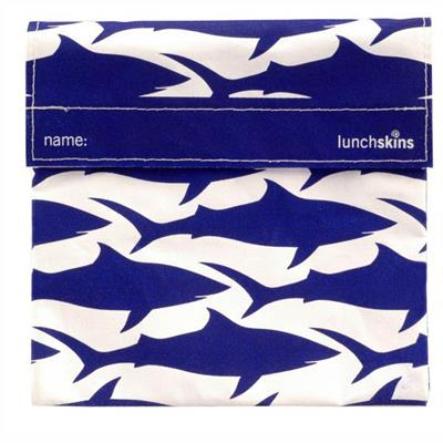 Lunchskins Reusable Sandwich Bag- Navy Sharks