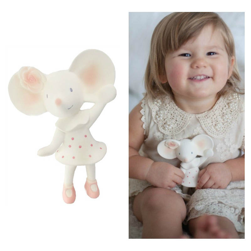Meiya the Mouse - Natural Rubber Squeaker Toy Teether