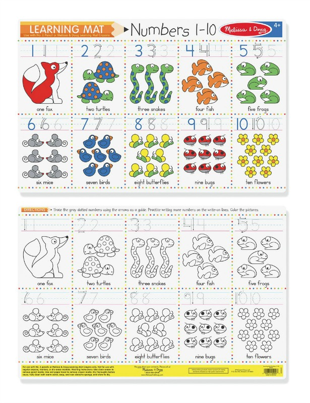 Melissa & Doug Double-Sided Numbers 1-10 Write-A-Mat