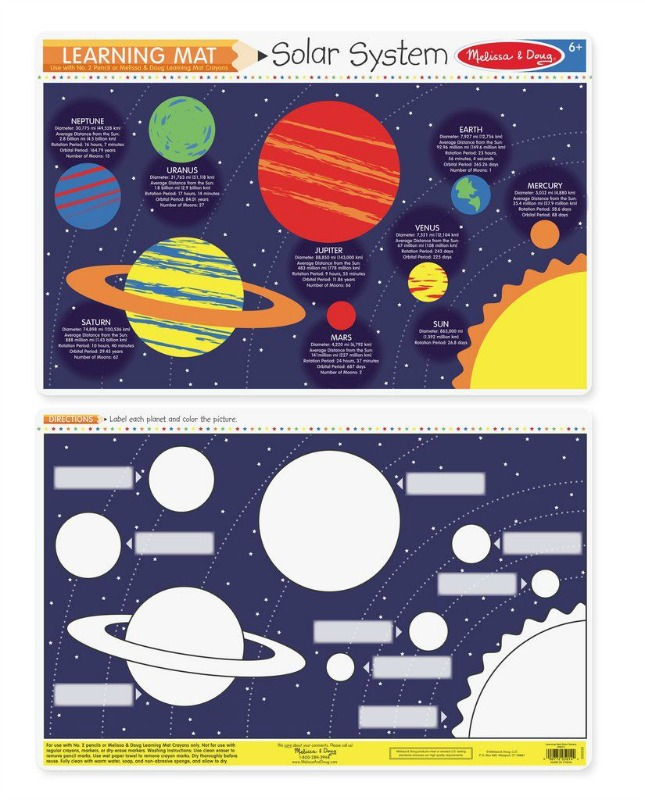 Melissa & Doug Double-Sided Solar System Write-A-Mat