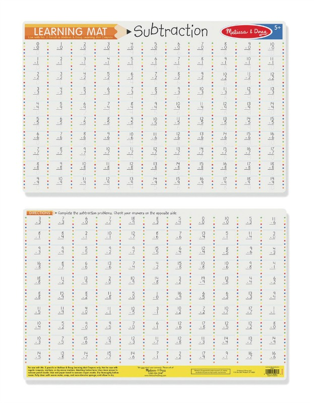 Melissa & Doug Double-Sided Subtraction Write-A-Mat