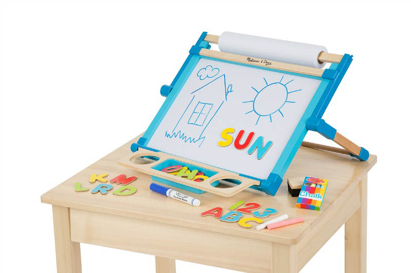 Double-Sided Magnetic, Tabletop Easel (chalkboard on reverse of dry-erase board)