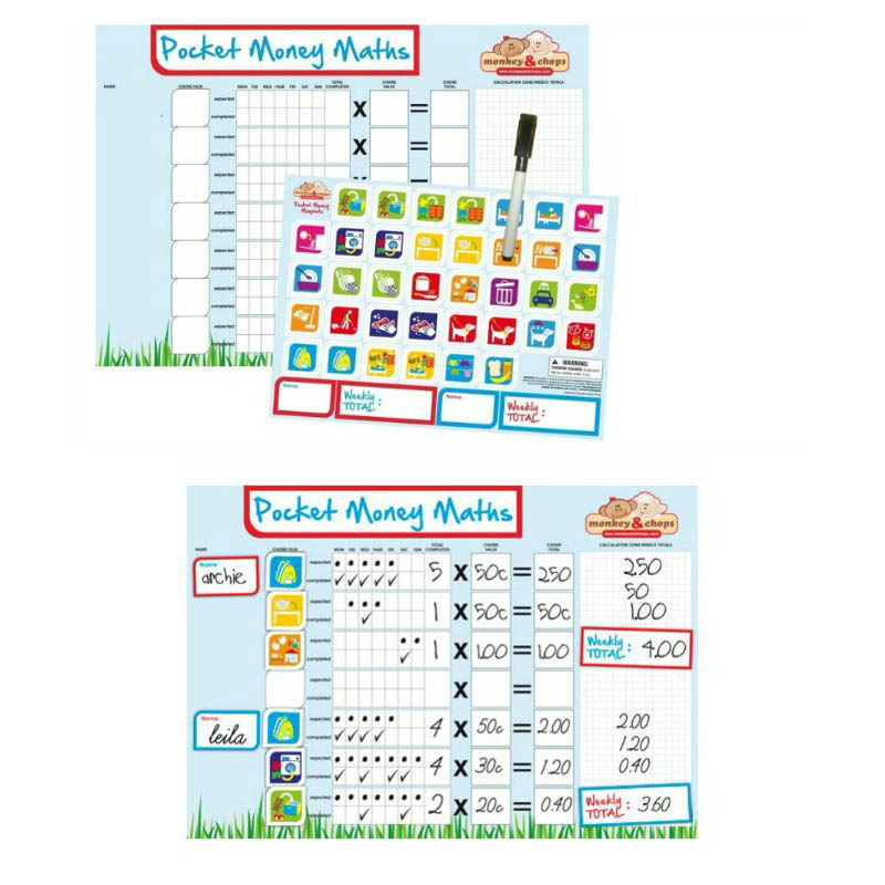 monkey & chops - Fully Magnetised Pocket Money Maths Chart