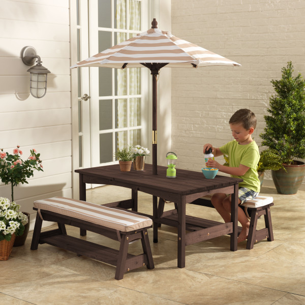 KidKraft Outdoor Table, Bench Set with Cushions & Umbrella Oatmeal