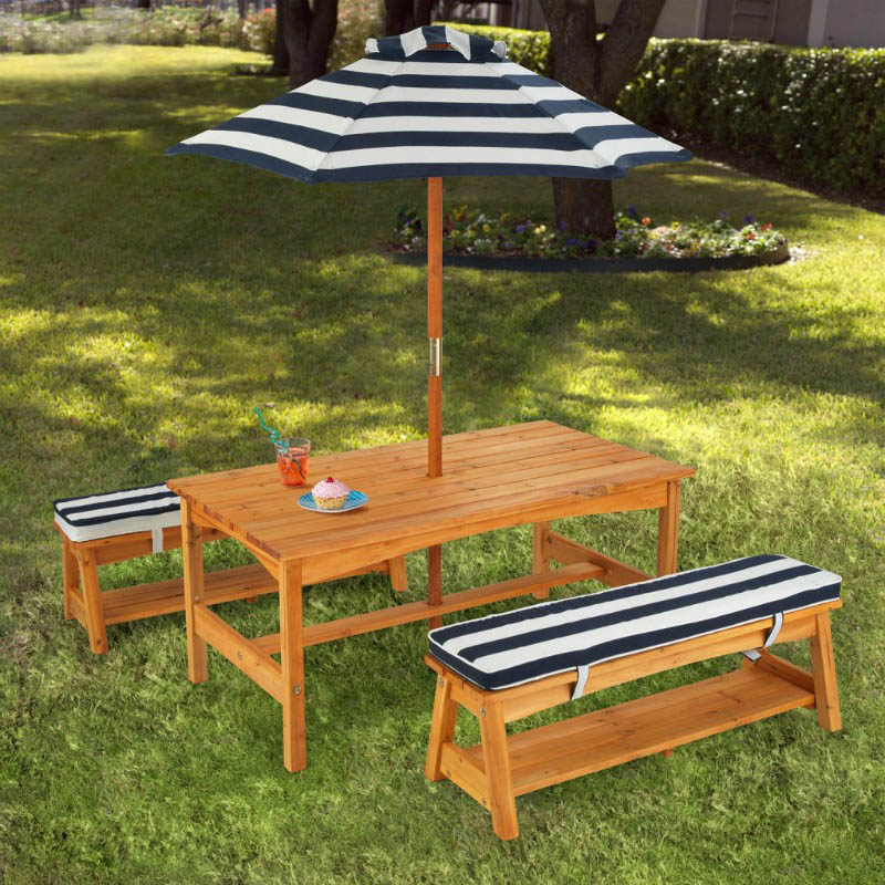 Outdoor Table Bench Set With Cushions Amp Umbrella Navy