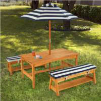 Kidkraft Outdoor Table, Bench Set with Cushions & Umbrella