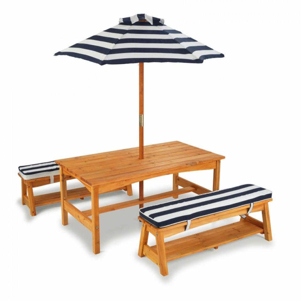 Outdoor Table, Bench Set with Cushions & Umbrella NAVY