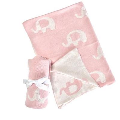 Pink Elephant Knitted Baby Blanket