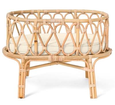 Poppie Rattan Doll Crib White