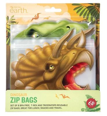 Reusable Dinosaur Zip Bag Set of 8