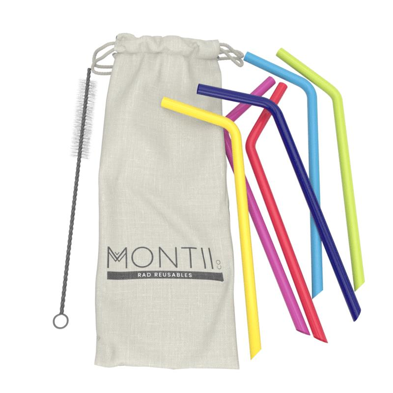 MontiiCo Reusable Silicone Straws (6 PACK)