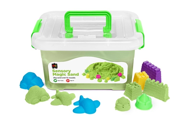 Green Sensory Magic Sand and Moulds 2kg