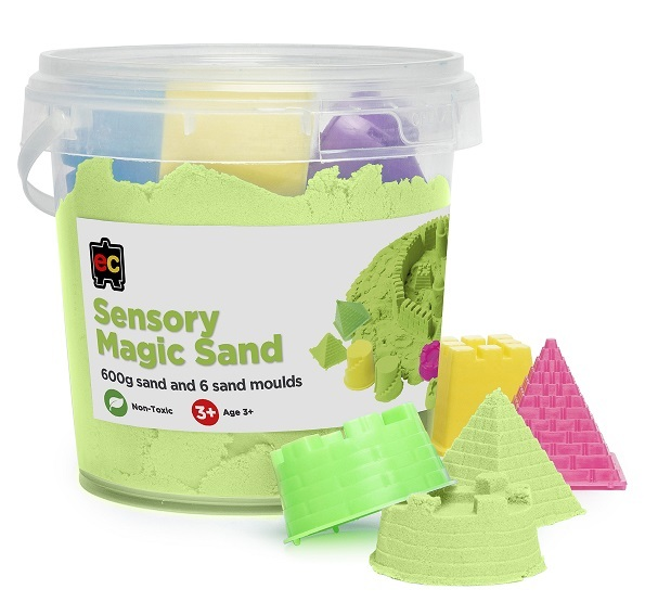 Green Sensory Magic Sand and Moulds 600g