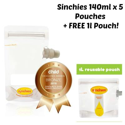 Sinchies Reusable Food Pouches 140ml 5 pack + FREE 1L Pouch!