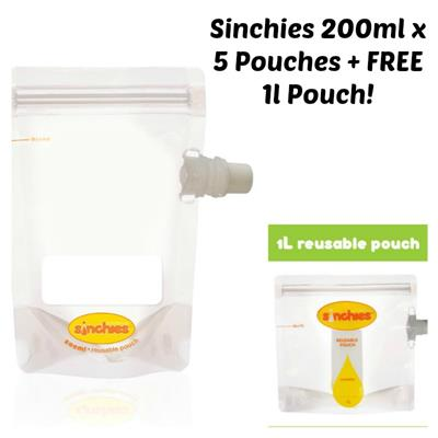 Sinchies Reusable Food Pouches 200ml 5 pack + FREE 1L POUCH!