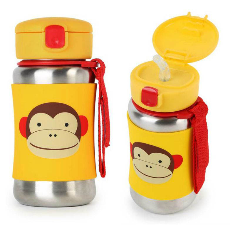 Skip Hop Zoo Stainless Steel Drink Bottle with Straw - MOnkey