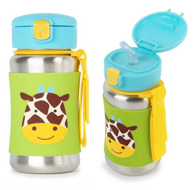 Skip Hop Zoo Stainless Steel Drink Bottle with Straw - Giraffe