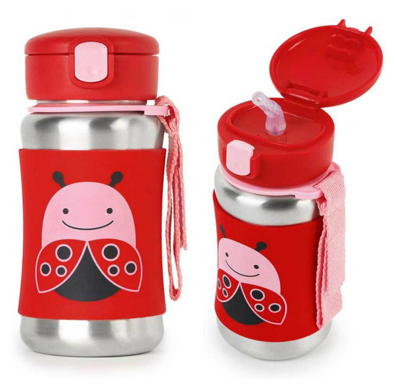 Skip Hop Zoo Stainless Steel Drink Bottle with Straw - Ladybug