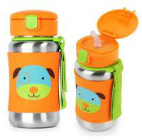 Skip Hop Zoo Stainless Steel Drink Bottle with Straw - Dog