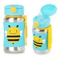 Skip Hop Zoo Stainless Steel Drink Bottle with Straw - Bee
