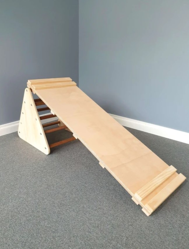 Small Wooden Pikler Triangle and Climbing Ramp Package