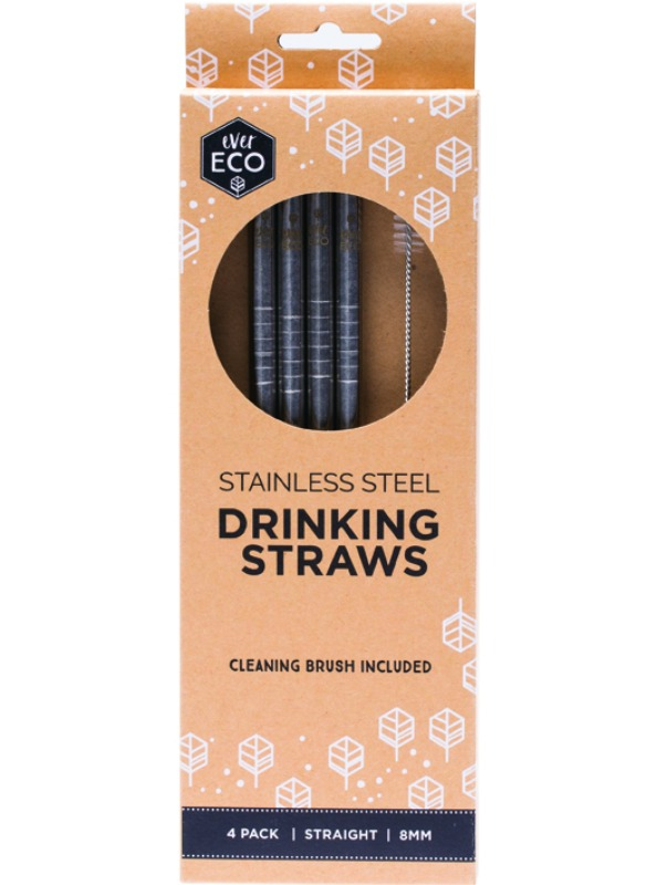 Stainless Steel Drinking Straws 4 pack and Brush