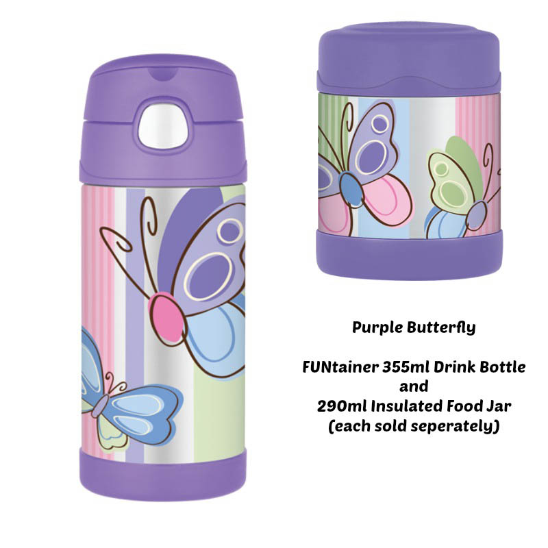 Thermos Funtainer 290ml Insulated Food Jar - Purple Butterfly
