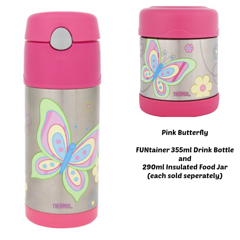 Thermos Funtainer 290ml Insulated Food Jar - Pink Butterfly