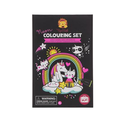 Tiger Tribe Neon Colouring Set - Unicorns and Friends