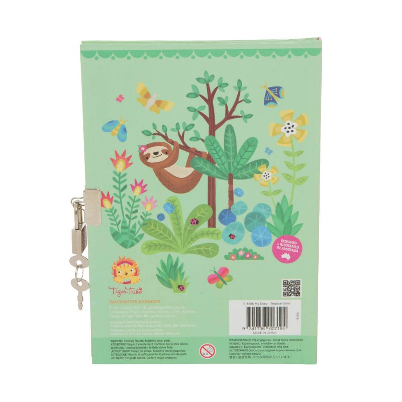 Tiger Tribe Tropical Sloth Lockable Diary