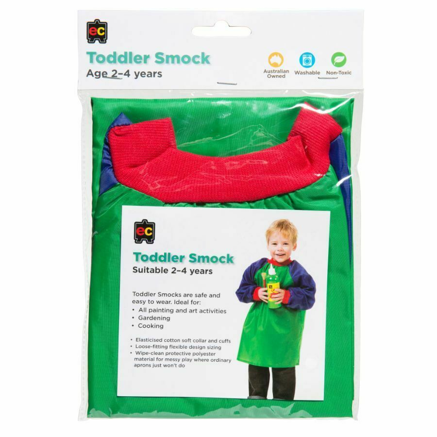 Toddler Artist Smock Green & Blue Age 2-4