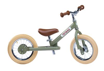 Trybike Steel Green Vintage Edition 2 in 1 Balance Bike