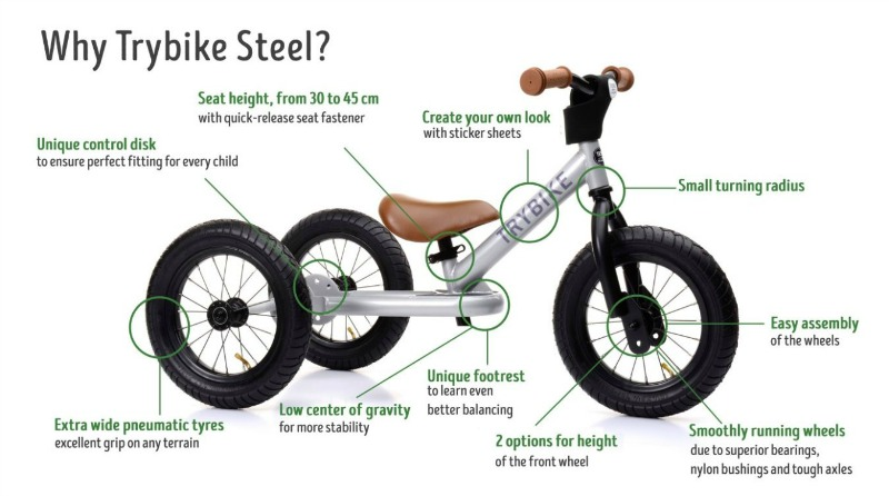 Trybike Steel 2 in 1 Balance Bike Facts