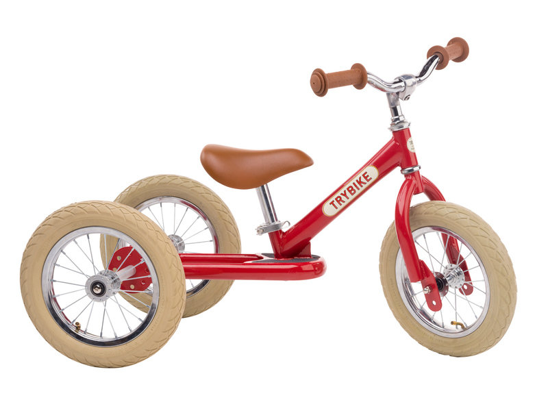 Trybike Steel Red Vintage Edition 2 in 1 Balance Bike