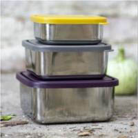 U Konserve Stainless Steel Square Nesting Trio-Set of 3-Eggplant