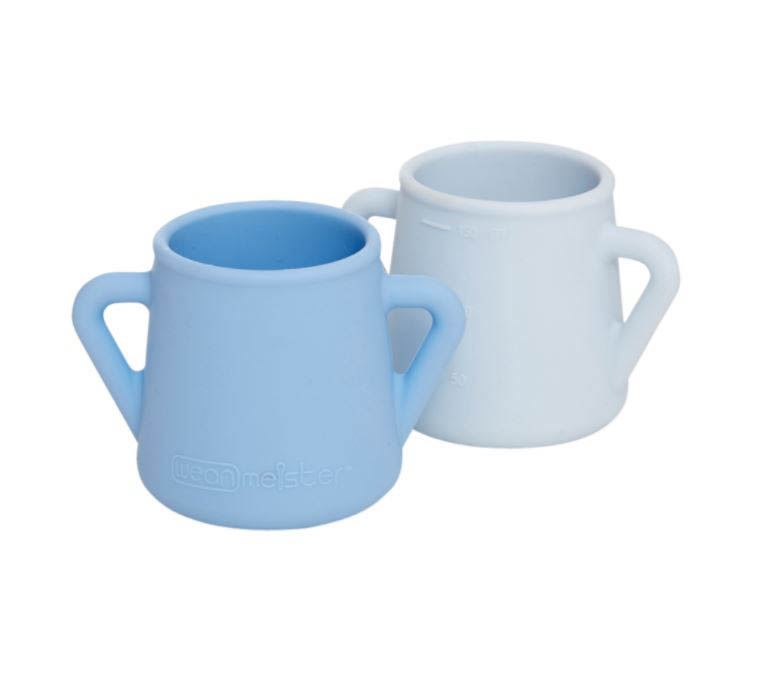 Wean Meister Sippy Skillz  Cups - 2 pack - Baby Blue&Grey