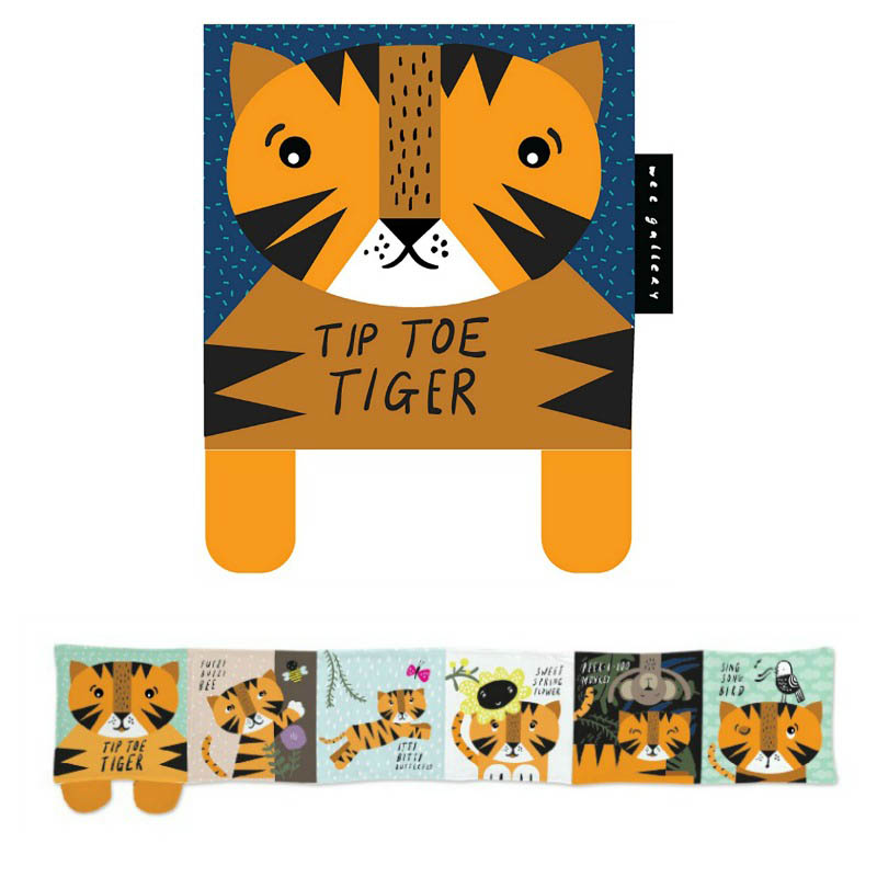 Wee Gallery Tiptoe Tiger Cloth Book