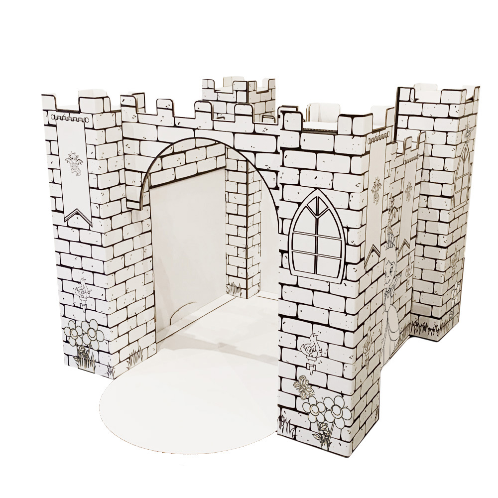 White Cardboard Castle Printed