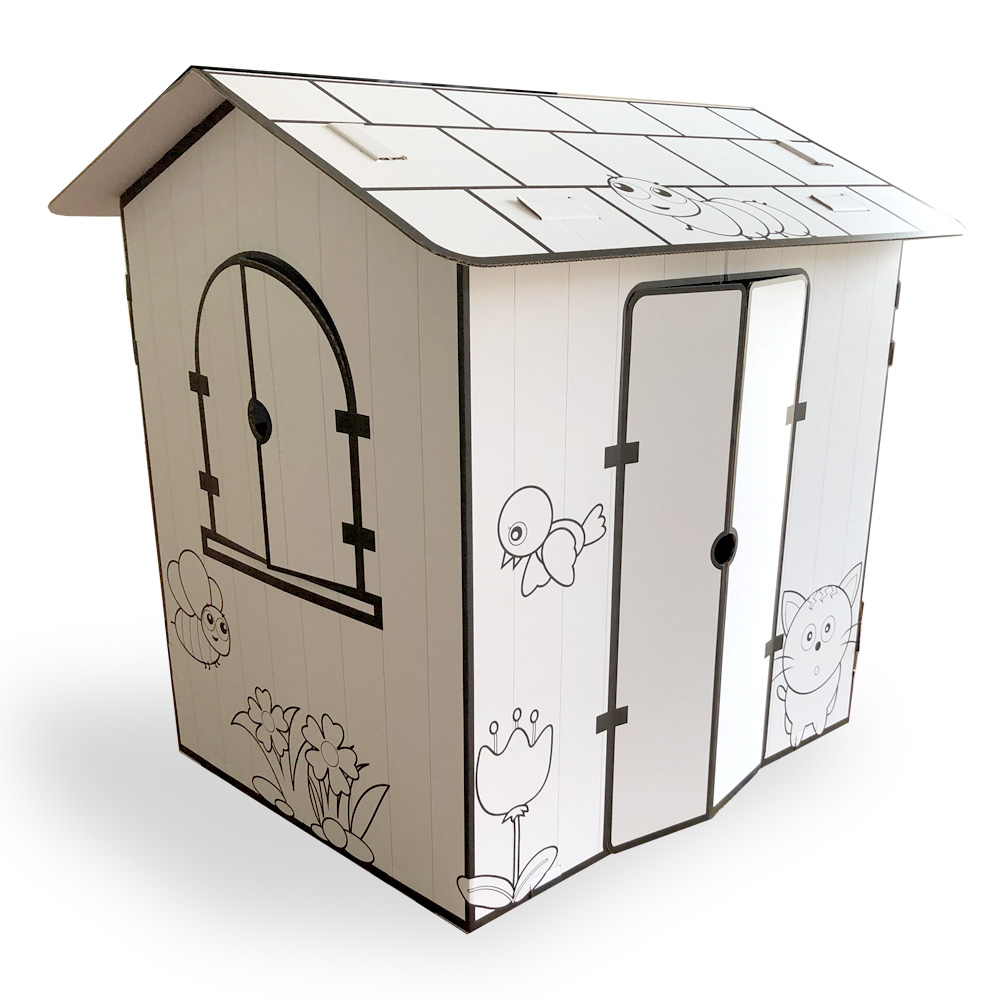 White Cardboard Cubby House Printed