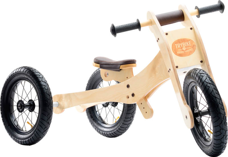 Wooden 4-in-1 Trybike - Brown Trim stage 1