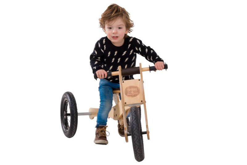 Wooden 4-in-1 Trybike - Brown Trim